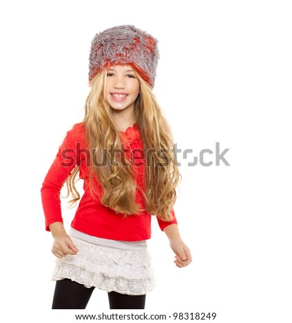 kid girl winter dancing with red shirt and fur hat on white background - stock photo