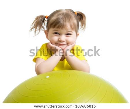 Kid girl with  gymnastic ball isolated - stock photo