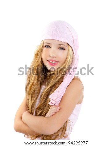 kid girl with pirate handkerchief beautiful portrait isolated on white - stock photo