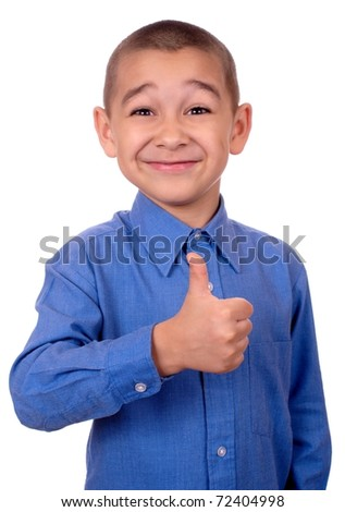 kid giving thumbs up, isolated on white background - stock photo