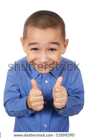 Kid giving thumbs up sign, smiling, isolated on white background