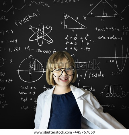 Kid Gown Smiling Childhood Math Concept - stock photo