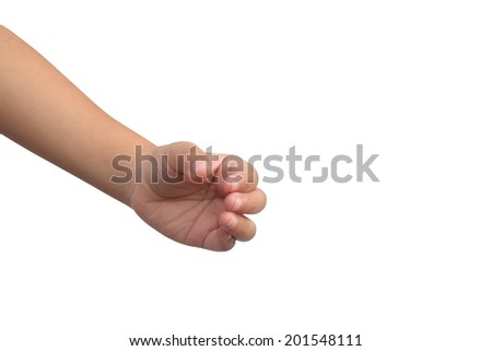 Kid hand shown handle symbol on isolated white background - stock photo