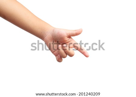 Kid hand shown point symbol on isolated white background - stock photo