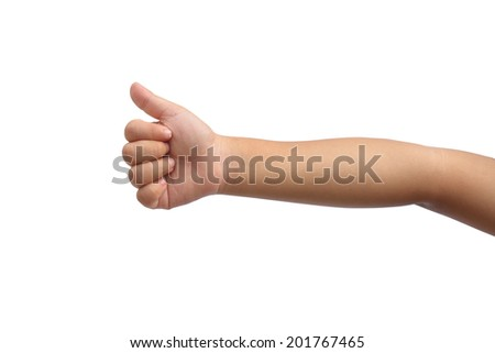 Kid hand shown thumb up symbol on isolated white background - stock photo