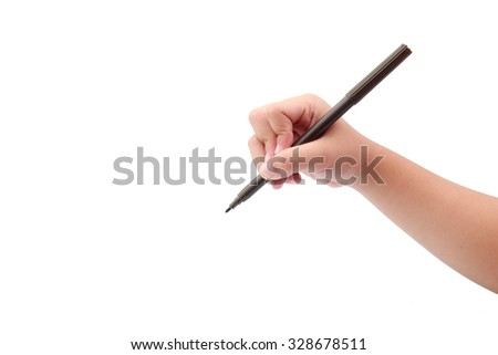 kid hand used magic pen writting