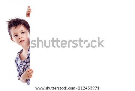 Kid holding a white board for text or image, isolated on white background