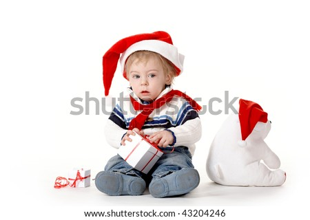 Kid in a Christmas hat.