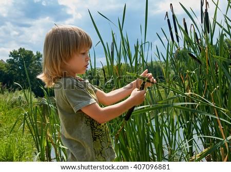 kid in summer - stock photo
