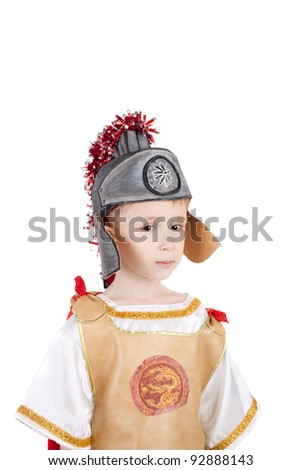 kid in the costume of the roman legionary - stock photo