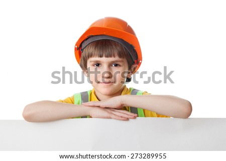Kid in work clothes and helmet with billboard, isolated on white background - stock photo
