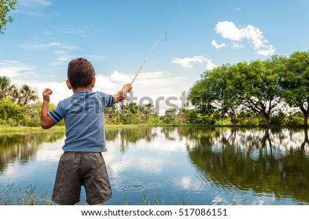 Kids fishing stock images royalty free images vectors for Youth fishing pole