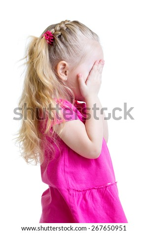 kid little girl cover her face with hand isolated on white background - stock photo