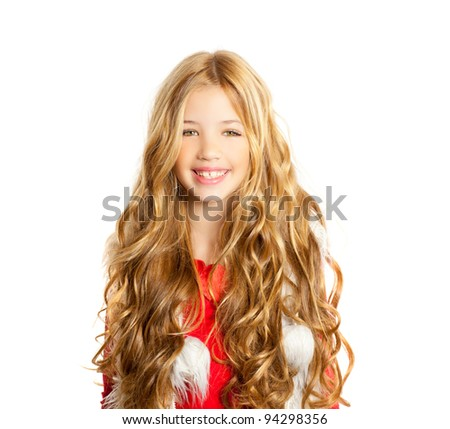 Kid little girl with christmas winter white fur and red shirt - stock photo