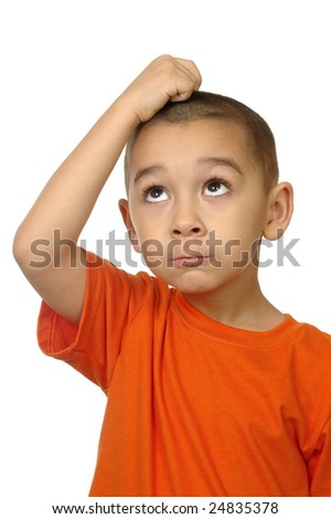 kid looking up frustrated, isolated on white - stock photo