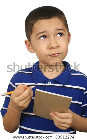 Kid looking up with notebook, isolated on white