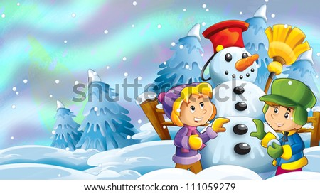 Kid making happy and big snowman - illustration for the children - stock photo