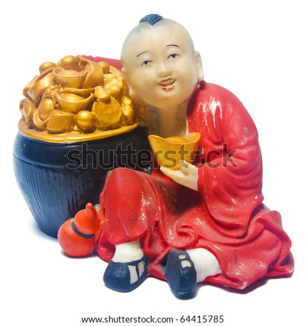 Kid of Luck with Ingots, Clipping Path Included - stock photo