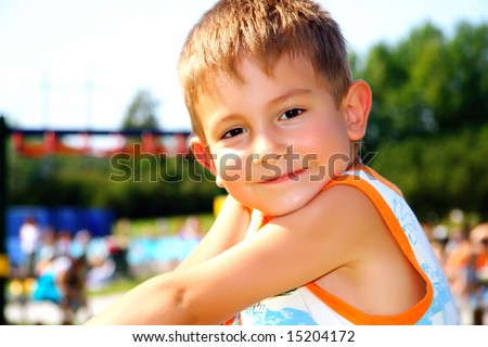 Kid on a recreation area - stock photo