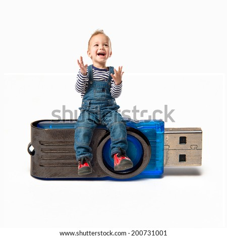 Kid on pendrive over white background - stock photo