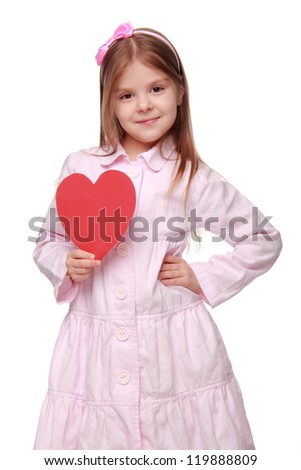 Kid on St.Valentine holiday theme
