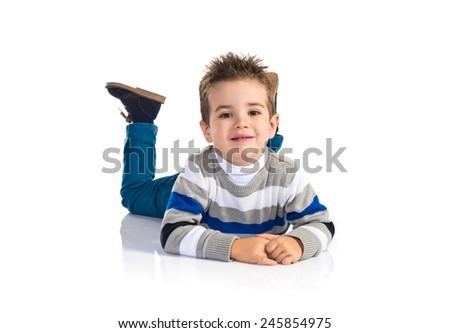 Kid on the floor - stock photo