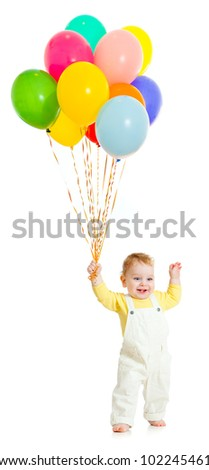 Kid or child with balloons bunch - stock photo