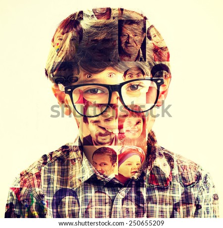 Kid people collage double exposure - stock photo