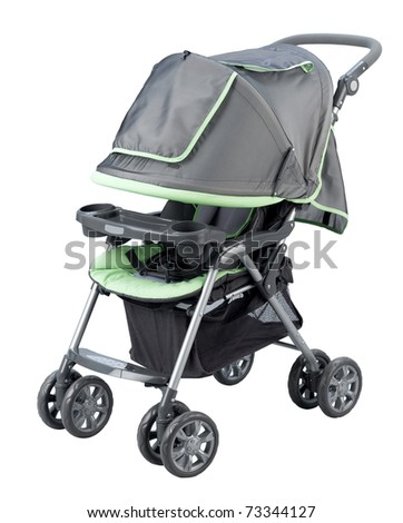Kid perambulator or carriage for young baby isolated on white - stock photo