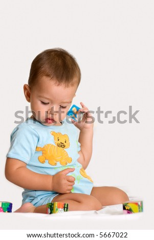 kid play with bricks - stock photo
