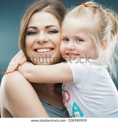 Kid playing isolated portrait. Young mother girl. - stock photo