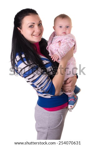 Kid playing isolated portrait. Young mother girl. isolated on white background - stock photo