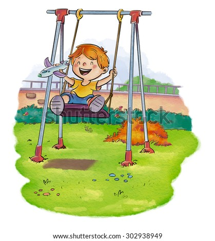 kid playing on swing