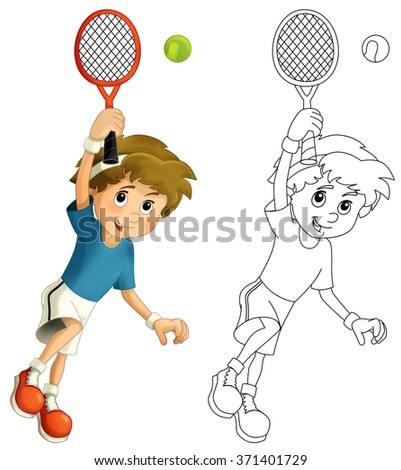 Kid playing tennis - jumping with tennis racket - with coloring page - illustration for the children - stock photo