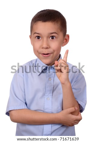 kid pointing up with an ah-ha expression as if finding a solution to a problem