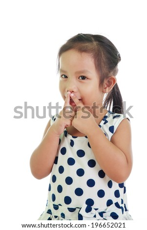 Kid portrait ask silence isolated - stock photo