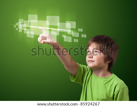 kid pressing high tech type of modern buttons on a virtual background - stock photo
