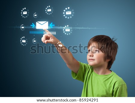 kid pressing messaging type of modern icons with virtual background - stock photo