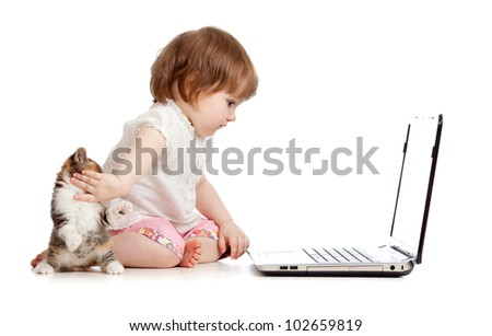 kid protecting notebook from kitten - stock photo