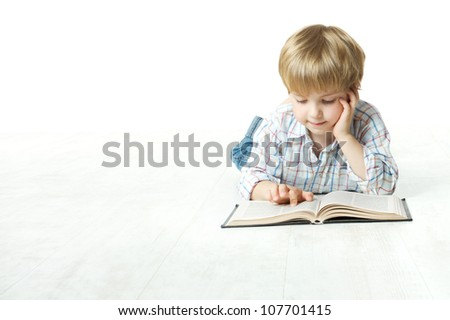 Kid Reading Book, Little Child Boy Read in School, lying down on floor over white background