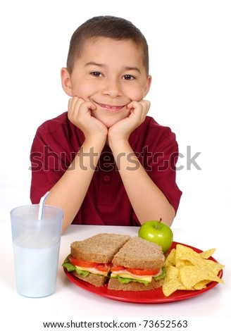 kid ready to eat a nutritious sandwich lunch, isolated on white background - stock photo