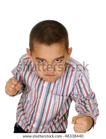Kid ready to fight, six years old, isolated on white background - stock photo