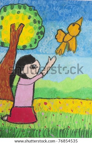 Kid release a bird as free hand drawing from color crayon techniques from 5 years old Thai young artist