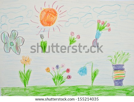 Kid's artwork - stock photo