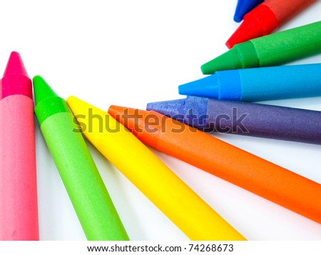 Kid's crayon color on white background