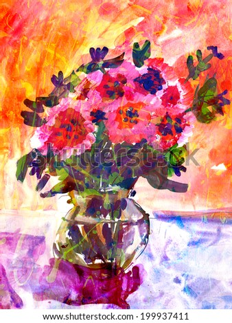 Kid's drawing of a colorful bouquet of flowers in a small vase over a vivid background