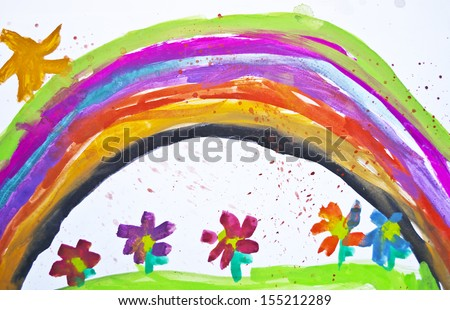 Kid's drawing with flowers and colorful rainbow - stock photo