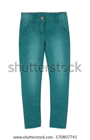 Kid's green jeans isolated on white - stock photo