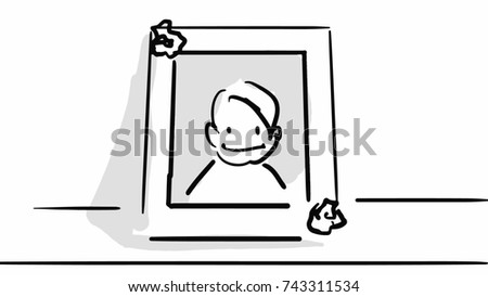 kids picture in the frame black and white sketch simple drawing at white background - Simple Drawing For Kid