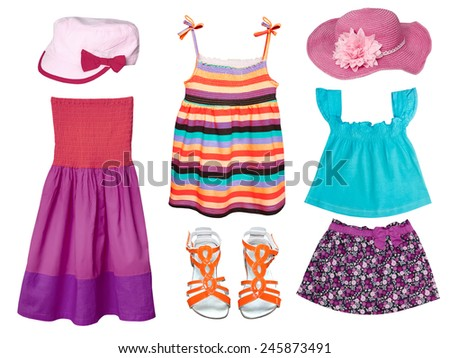 Kid's summer clothes isolated on white. Girl fashion wear collage. - stock photo
